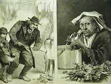Morgan ITALIAN STREET MUSICIANS MUSIC CHEF COOK NYC 1873 Antique Print Matted