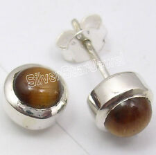 925 Sterling Silver BROWN TIGER'S EYE LADIES' BEAUTIFUL Stud Earrings 0.8 CM NEW
