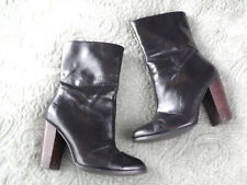 NEXT Womens size 3 Black Leather Tall Ankle Boots Block Heel