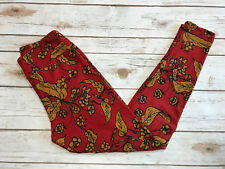 LuLaRoe OS Leggings Brick Red Mustard Floral Leaves Leaf Vines One Size Boho