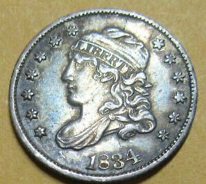 United States Silver Capped Bust Half Dime 1834 Grade As Pictures.