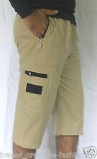 Men's Solids Four Pocket Cargo Pants, Shorts, 3/4th, Casual Wear -Light Khaki