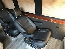 Set of 4 Black Leather Captain Seats for Sprinter Van Conversions RV or bus