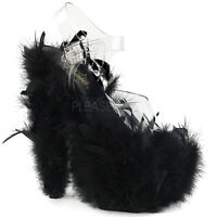 Pleaser ADORE-708F Women's Clear Black Marabou Feather Heels Platforms Sandals