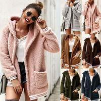Womens Winter Fleece Long Sleeves Cardigan Hooded Outwear Pocket Coat Jackets UK