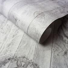 Cerf Bois Papier-Peint Gris/Argent - Holden 90090 Neuf