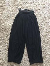 SONIA RYKIEL  Black Wool Knitted Wide Leg Trousers Pants Size 46  UK  12 14