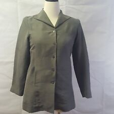 Eileen Fisher Olive Green Jacket Women's Silk Sz L Suit Blazer Button MSRP $188