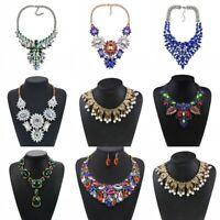 Fashion Bib Necklace Choker Crystal Rhinestone Pendant Statement Party Jewelry