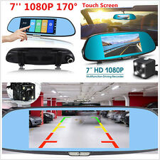 7''Touch Screen Dual Lens Car Dash Cam DVR Rearview Mirror Video Camera Recorder