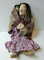 VINTAGE HANDMADE CLOTH NATIVE AMERICAN INDIAN MOTHER AND CHILD DOLL