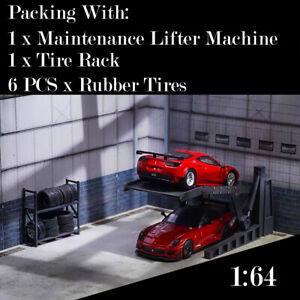 DIY 1:64 Car Model Lifter Maintenance Machine Diorama Garage Model Tools 1/64
