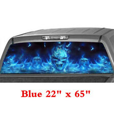 "22""x65"" Car Flaming Skull Rear Window Blue Graphic Decals Sticker For Pickup SUV"