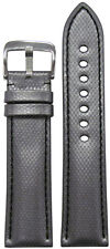 22mm RIOS1931 for Panatime Silver Kevlar Style Synthetic Watch Band w Black Stit