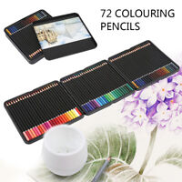72x Colouring Pencils Set Drawing Painting Artist Kids With Pencil Tin Sketching
