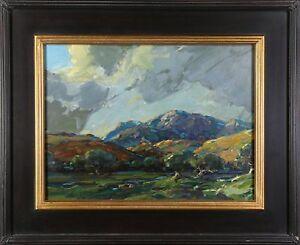Karl Schmidt Oil Painting of Santa Barbara Mountains California Arts & Crafts