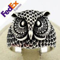 Owl Design 925 Sterling Silver Turkish Handmade Gothic Men's Ring All Sizes