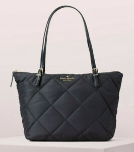 Kate Spade Nylon Tote Shopper Top Zip WATSON LANE Quilted MAYA ~Black~ NWT