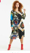 Size 12 Stylish Scarf Print Shirt Dress BNWT Simply Be Multi Coloured