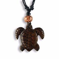 Halskette Anhänger Schildkröte Turtle Holz Amulett Handarbeit N253