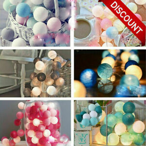 20LED Cotton Ball String Lights Party Fairy Wedding Light Decor Battery/ USB