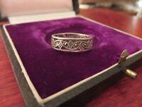 Schöner 925 Silber Ring Markasiten Muster Floral Designer Filigran Retro Defekt
