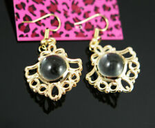 New Betsey Johnson Crystal ball Crystal Dangle Drop Gold Earrings Lady Jewelry