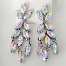 Stunning White Rainbow Crystal Long Dangle Chandelier Fashion Statement Earrings