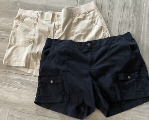 2 pairs of Sonoma Shorts Plus Size Woman Mid Thigh Shorts Black & Tan Size 24W