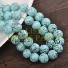 Hot 30pcs 10mm Round Black Stripes Charm Loose Spacer Glass Beads Baby Blue