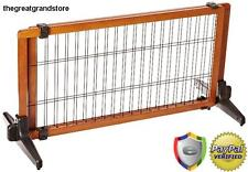 Indoor Stand Dog Gate Living Room Wood Fence Canine Decor Pet Baby Lock Standing