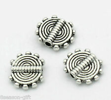 """100PCs Silver Tone Stripe Carved Round Spacer Beads 10x8.5mm(3/8""""x3/8"""")"""