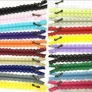 10Pcs 16 inch Lace Closed End Zippers 3# Nylon For Purse Bags Multicolor Sewing