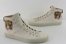 Gucci Mens Sz 12 Tiger Embroidered Leather White Sneaker Shoes Hi Tops