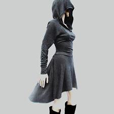 Women Casual Long Sleeve Hooded Sweatshirt Lace Up Bodycon Mini Skater Dress Hot