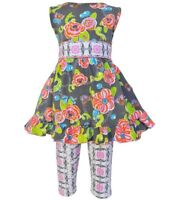 Girls ANN LOREN ruffle swing top dress leggings outfit 12-18 2T 3T 4T 5 NWT