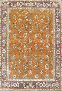Antique Overdyed Orange Floral Tebriz Hand-knotted Area Rug Oriental Carpet 9x12
