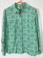 Kim Rogers Petite Large women linen paisley blouse shirt green long sleeve box54