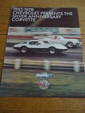 CHEVROLET CORVETTE 1978 CAR BROCHURE  jm