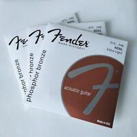 Acoustic Guitar Strings 3 Packs Fender 60XL Set 010-048 Phosphor Bronze Strings