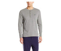 Nautica Mens Long Sleeve Henley Highland Heather Gray Size Large NWT $38