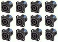12 Geniune Neutrik NL4MP 4-Pole Locking Speakon Chassis Panel Mount, Solder Tabs