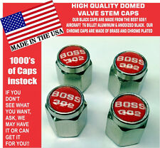 Chrome Ford Mustang Tribute Fastback 302 Red Valve Stem Caps - Nice