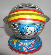 RARE Japanese Sputnik Tin Lithograph Toy Coin Bank ~EXCELLENT Condition! C. 1957