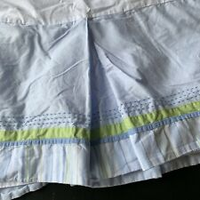 Pottery Barn Kids Crib Skirt Blue Green Pic Stitch Pleated Spilt Corners