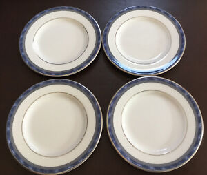 4 x Royal Doulton ATLANTA  Side Plates blue with Greek key STUNNING! Set b1 Good