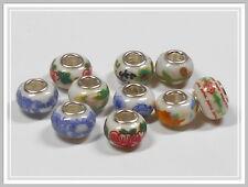 10 Porzellan Modulperlen Grosslochperlen Farbmix verziert