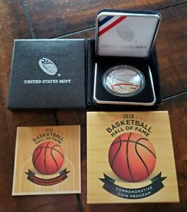 2020 Basketball Hall of Fame Colorized Proof Silver Dollar w/ OGP Box & COA