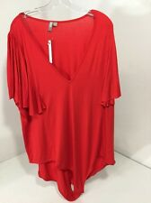 ASOS WOMEN'S PLUNGE NECK BODYSUIT W/FLUTTER SLEEVES RED US SZ 24 $33