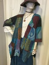 New Ladies Large Flowing Patchwork Cotton Top Size 10 to 20